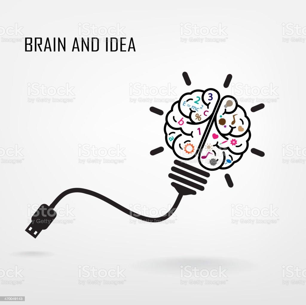 Creative brain symbol vector art illustration