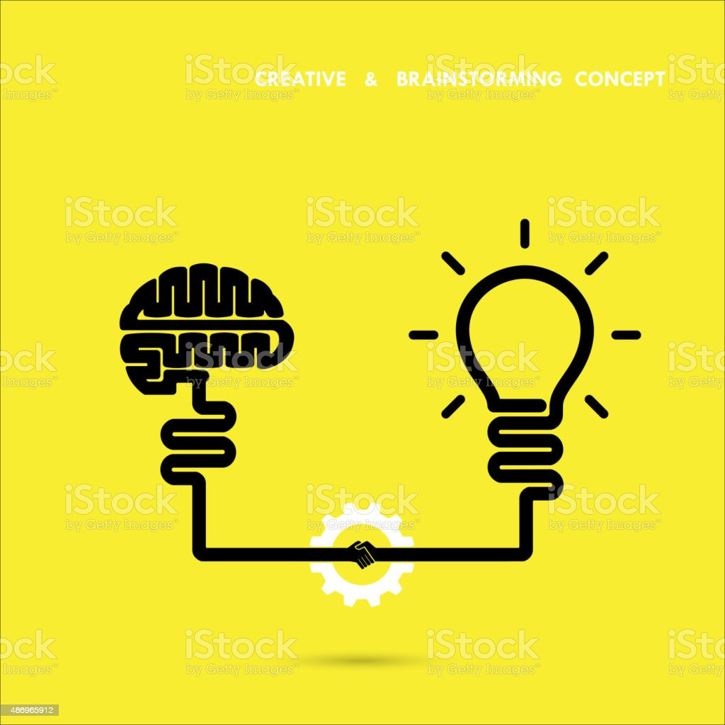 Creative brainstorm concept business and education idea, innovation and solution, creative design vector art illustration