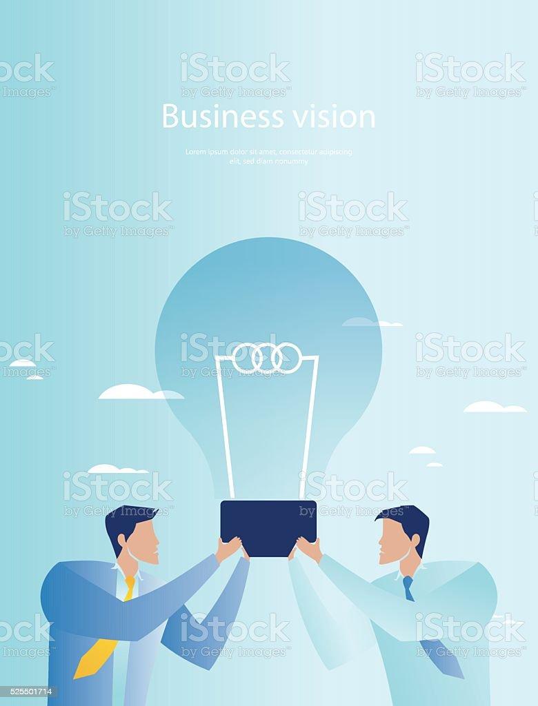 Creative business. Businessmen holding light bulb vector art illustration