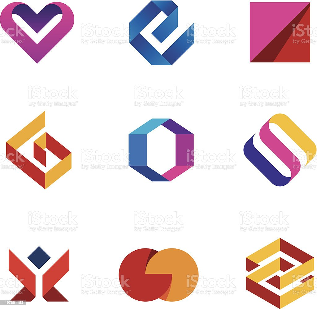 Creative business company tape line help care logo icon set vector art illustration