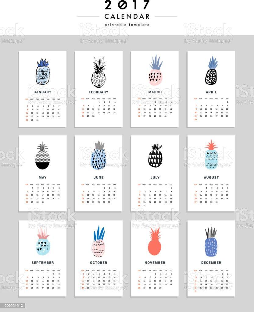 Creative Calendar Template : Creative calendar template with different pineapples