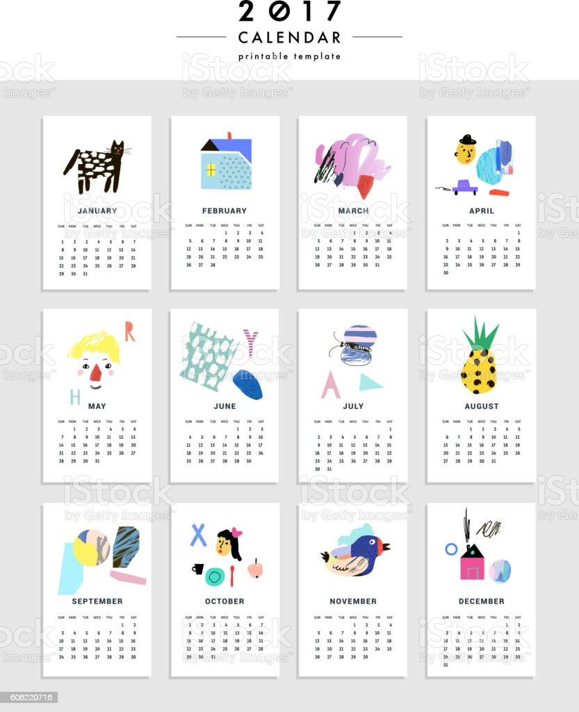 Creative Calendar 2017. Template with different textures vector art illustration