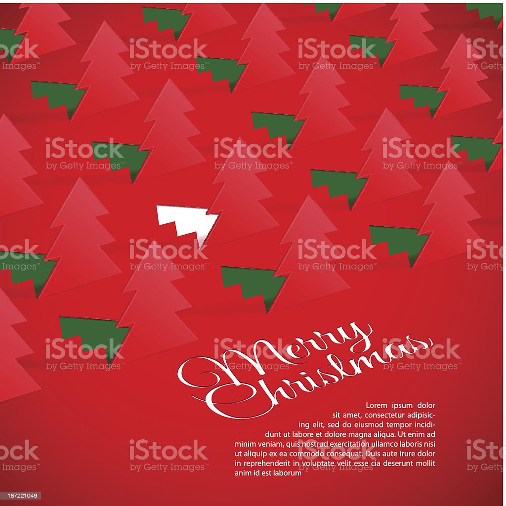 Creative Christmas tree formed from cut out paper. royalty-free stock vector art