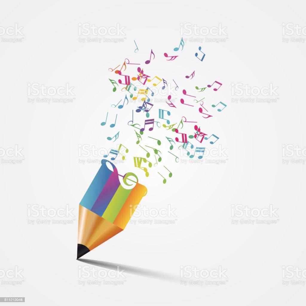 Creative colorful music pencil. Writing concept. Vector vector art illustration