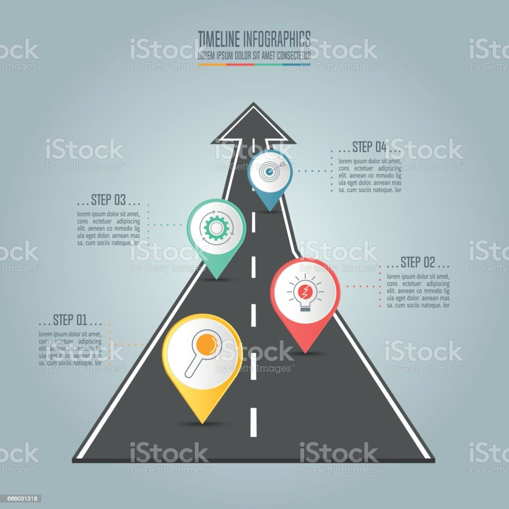 Creative concept for infographic. Timeline infographic design vector and marketing icons for presentation, workflow layout, diagram, annual report, web design. Business concept with 4 options, steps or processes. vector art illustration