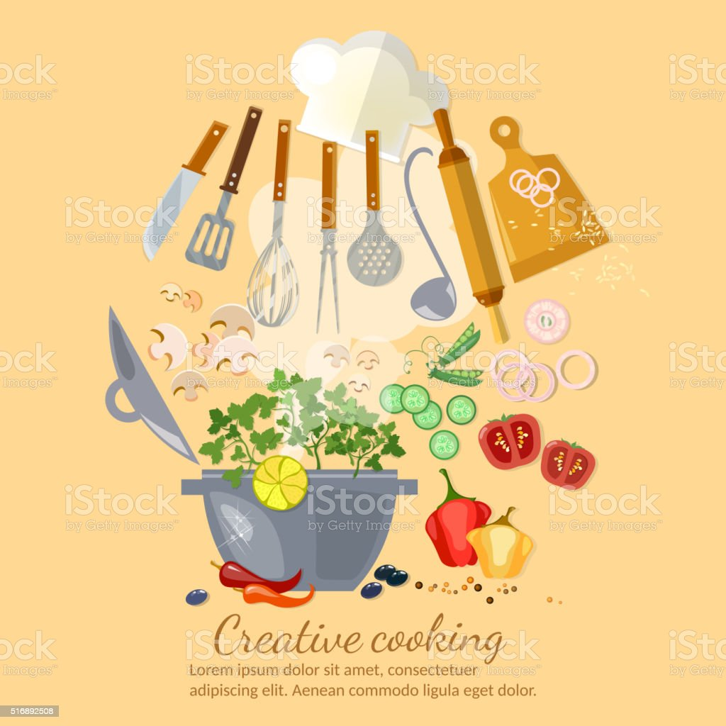 Creative cooking collection cookbook vector art illustration