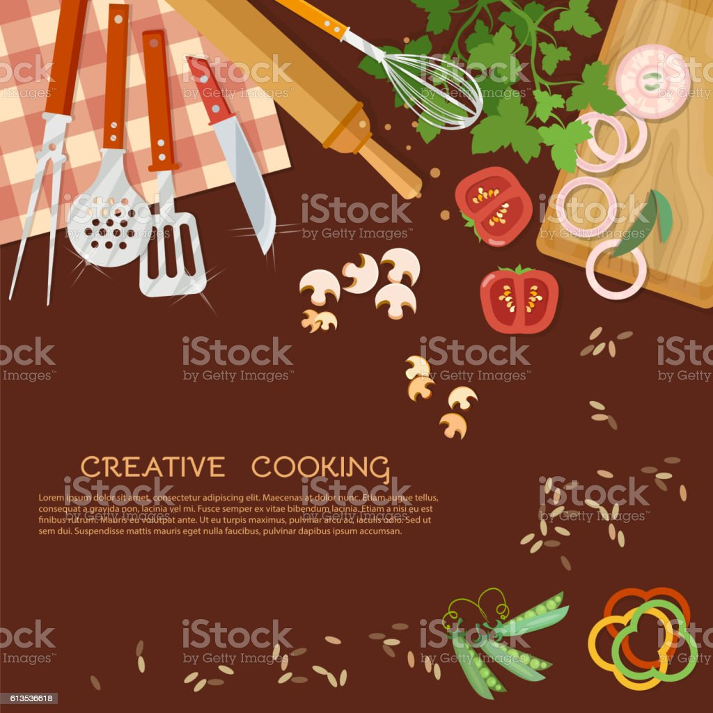 Kitchen Background Creative Cooking Kitchen Background Stock Vector Art 613536618