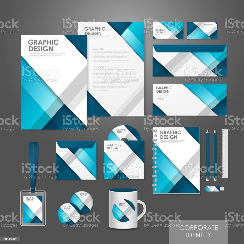 creative corporate identity set template in blue vector art illustration