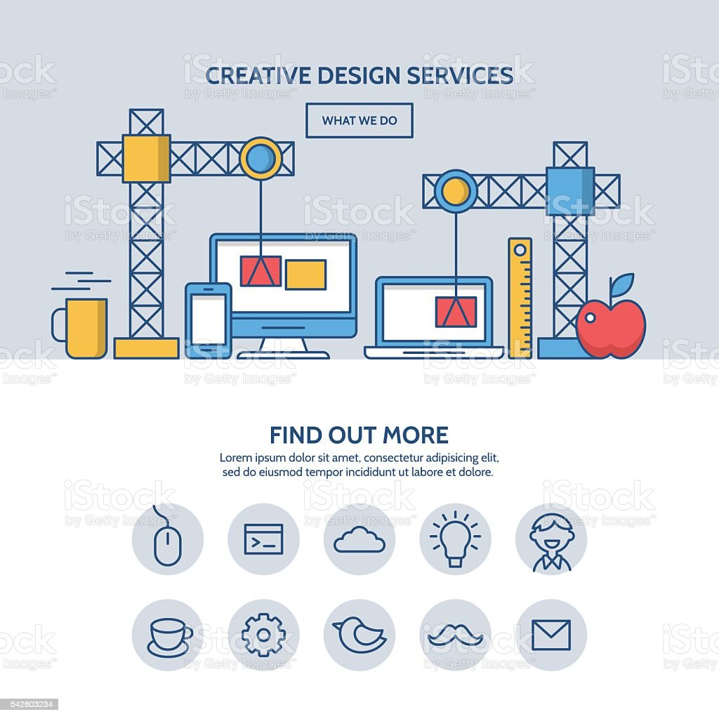 Creative design services website hero image concept vector art illustration