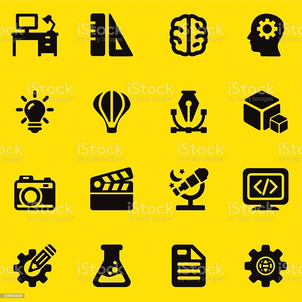 Creative Designer Yellow Silhouette icons | EPS10 vector art illustration