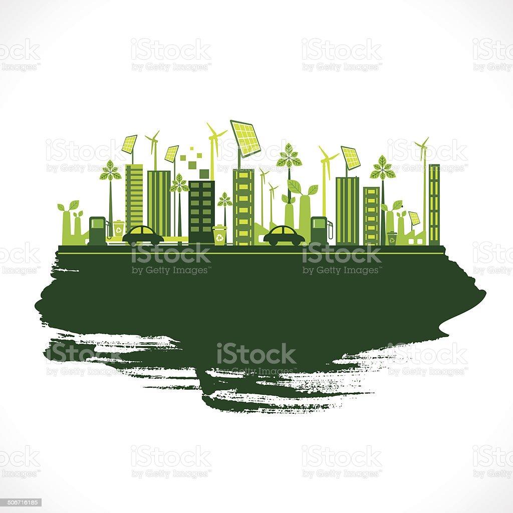 creative eco city background vector art illustration