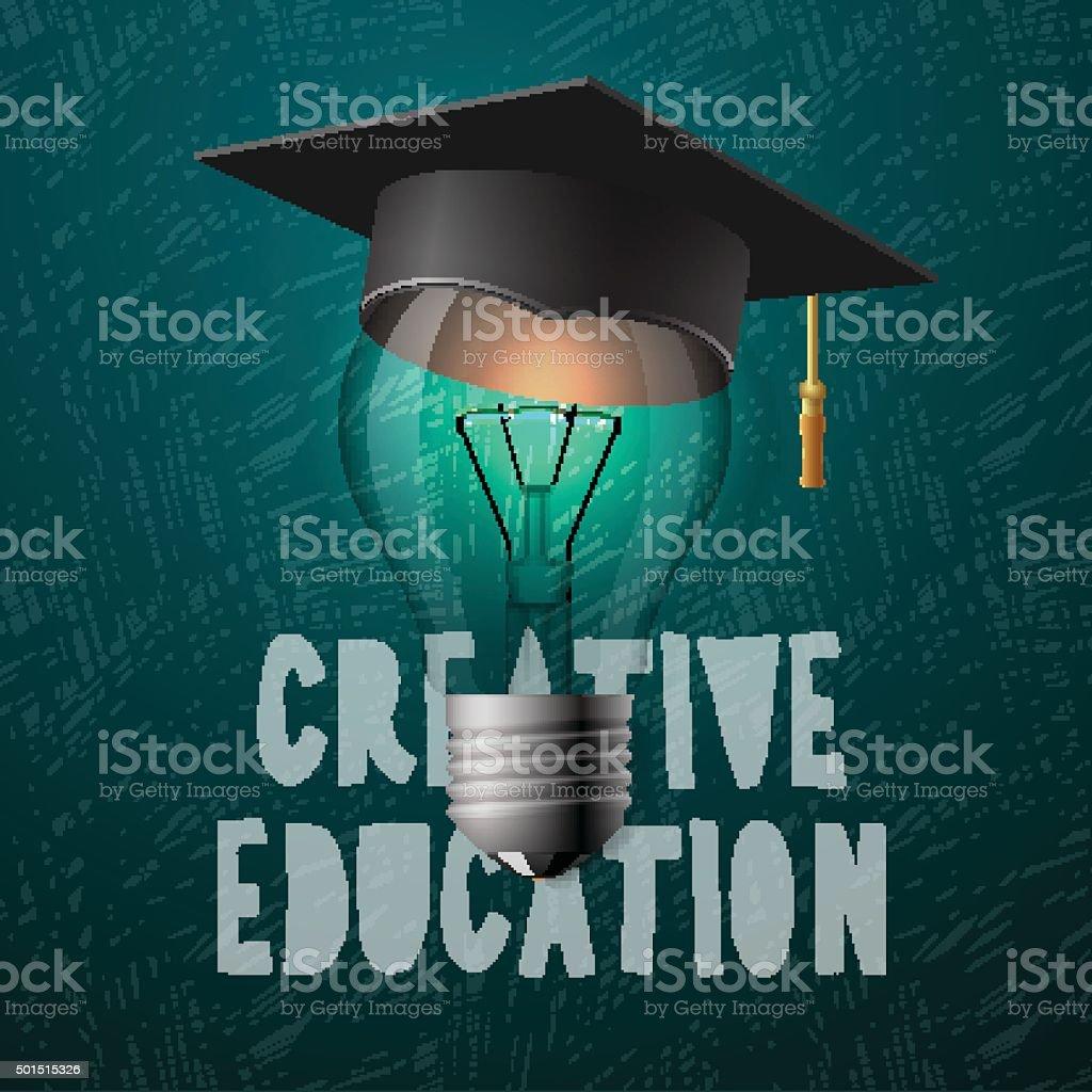 Creative education design, bulb with mortarboard vector art illustration