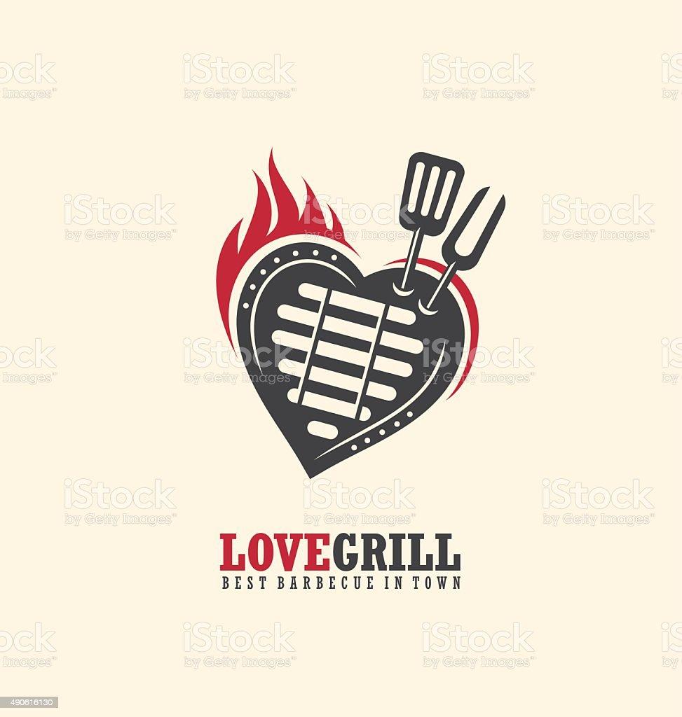 Creative emblem concept for bbq restaurant vector art illustration