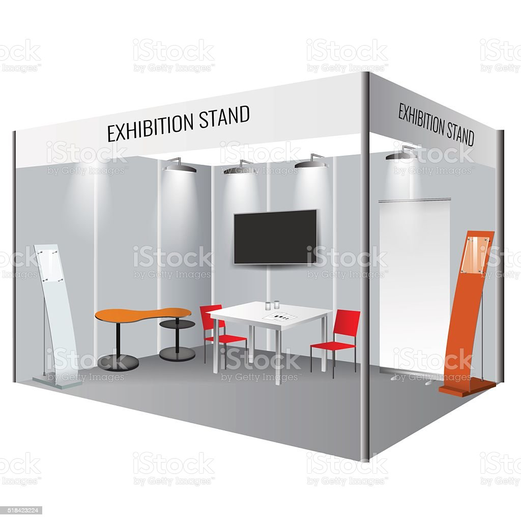 Creative exhibition stand design. Booth template. Corporate identity vector vector art illustration