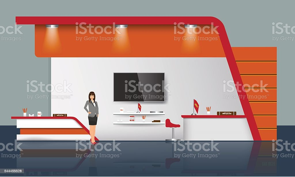 Creative exhibition stand design. Trade Booth template. Corporate identity vector vector art illustration