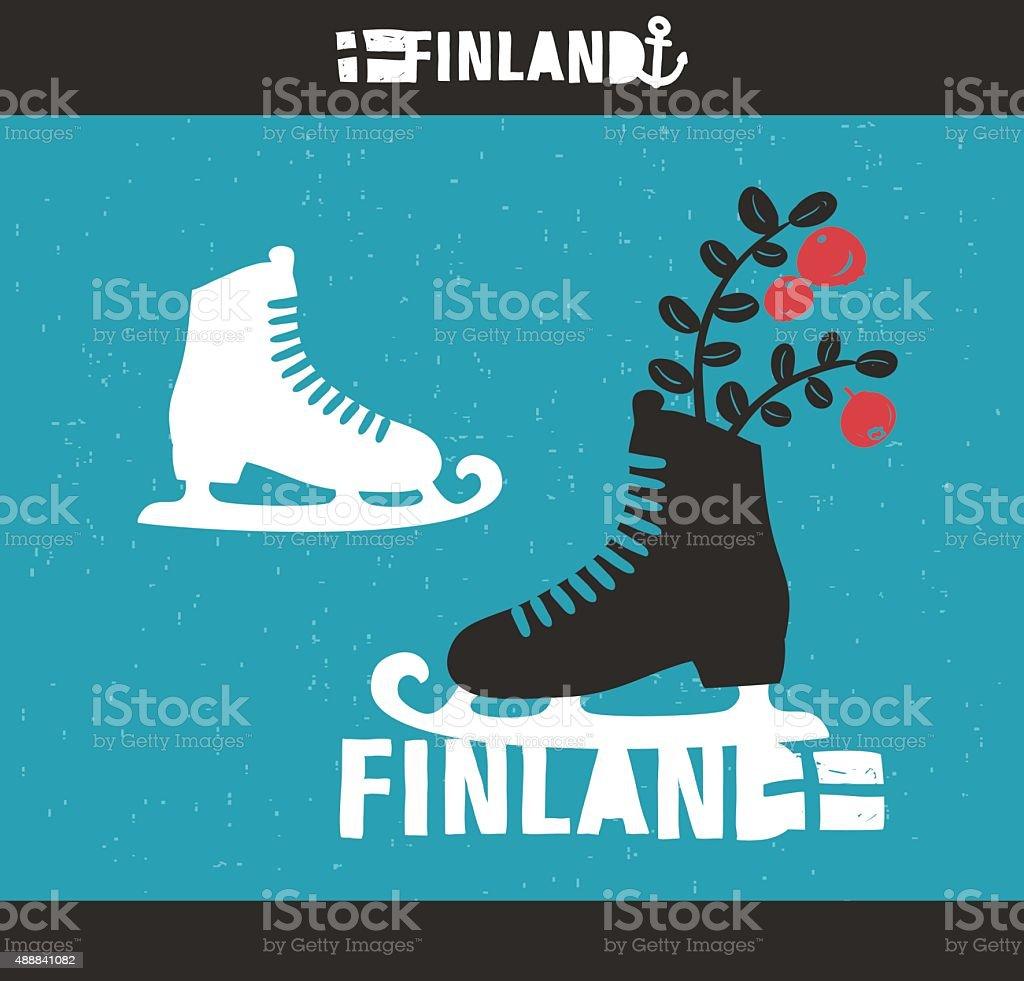 Creative Finnish label. vector art illustration