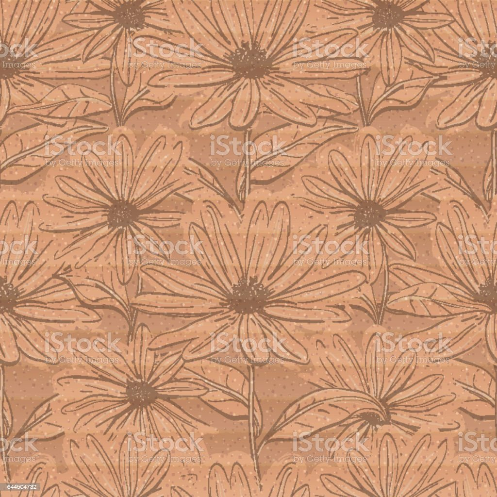 Creative floral wallpaper, Seamless pattern of chamomiles cardboard brown background vector art illustration