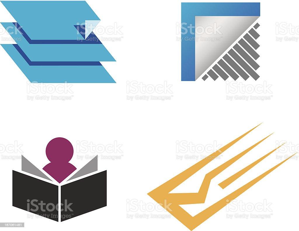 Creative folder and document decoration business  logo vector template vector art illustration