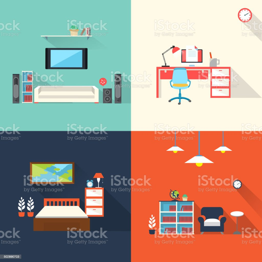 creative furniture icons set in flat design vector art illustration