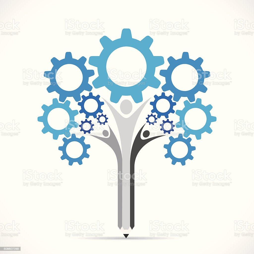 creative gear pencil tree design concept vector art illustration