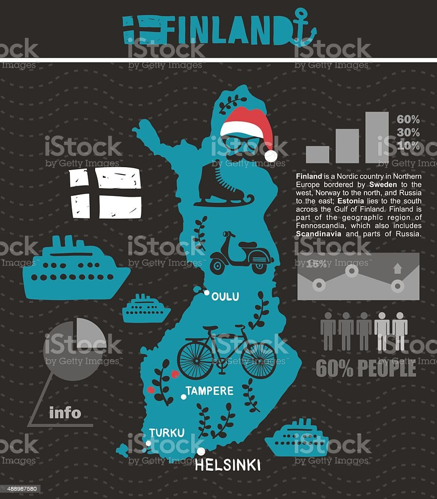 Creative geographic map of Finland. vector art illustration