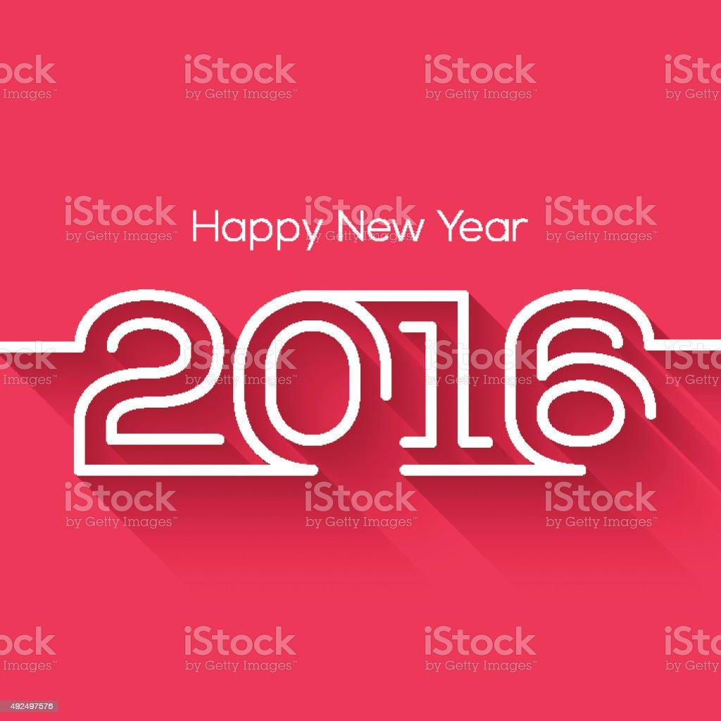Creative happy new year 2016 design. Flat design. vector art illustration