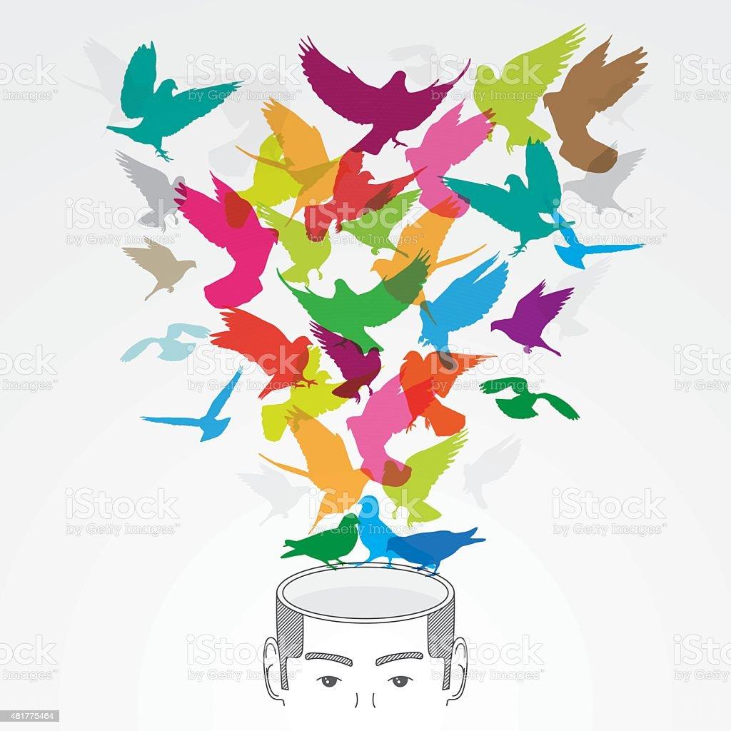 Creative head with colourful birds vector art illustration