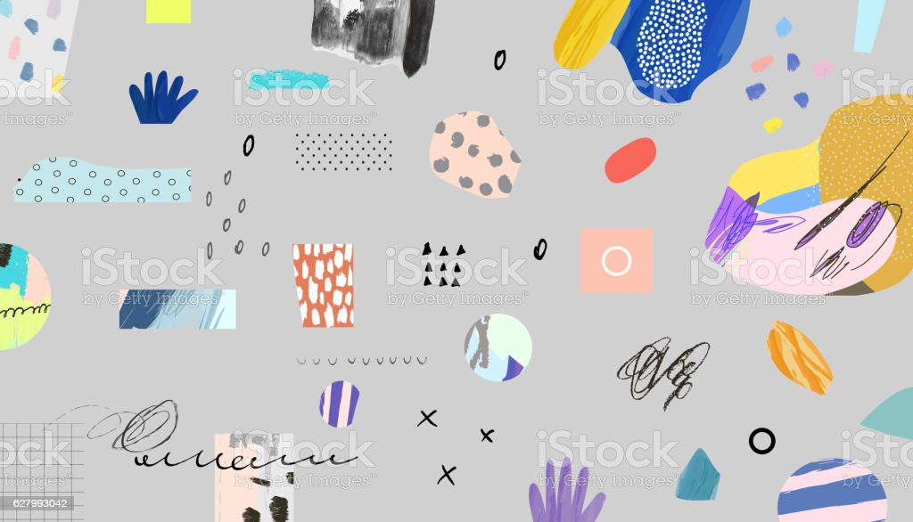 Creative header with different shapes and textures. vector art illustration