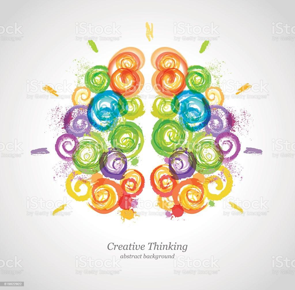 Creative Human Brain in the Work. vector art illustration