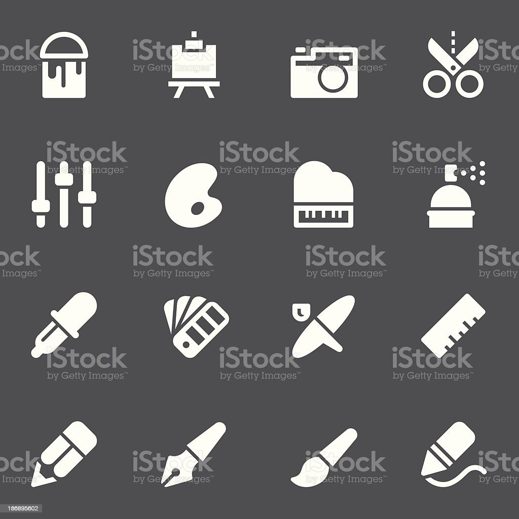 Creative Icons - White Series royalty-free stock vector art
