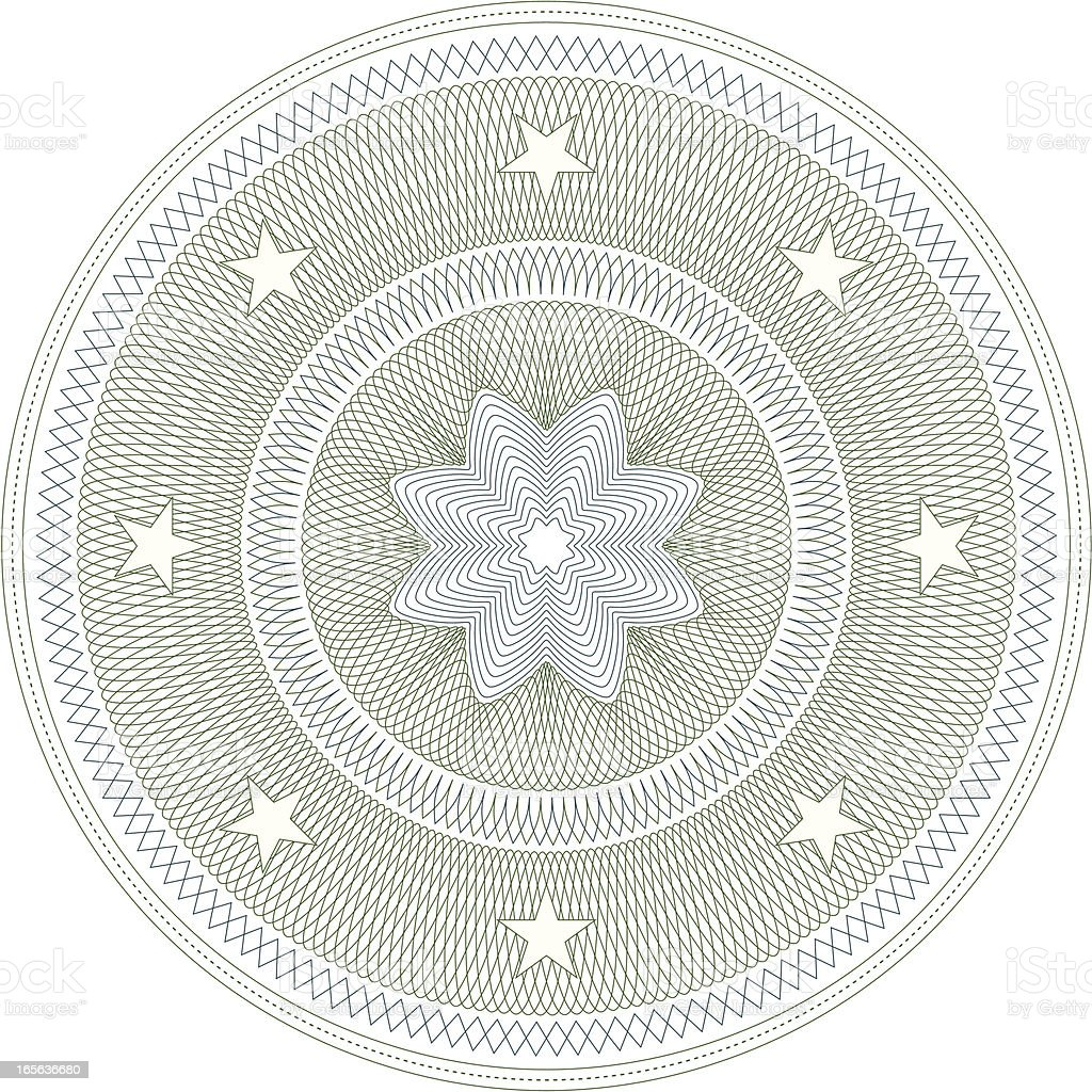 Creative illustration of a circle with stars around it royalty-free stock vector art