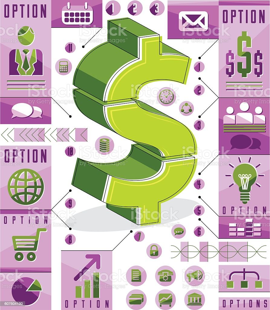Creative Infographics Template Layered Dollar Sign Idea Vector stock ...