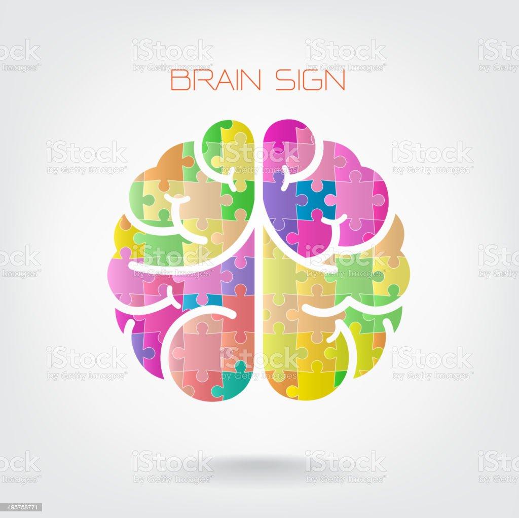Creative jigsaw left and right brain royalty-free stock vector art