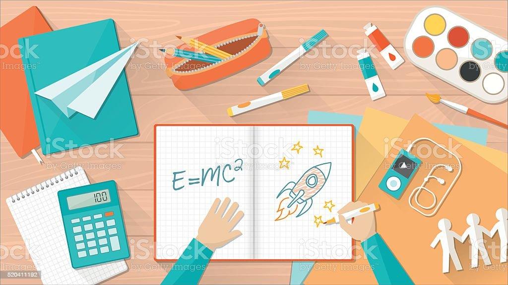 Creative kid desktop vector art illustration