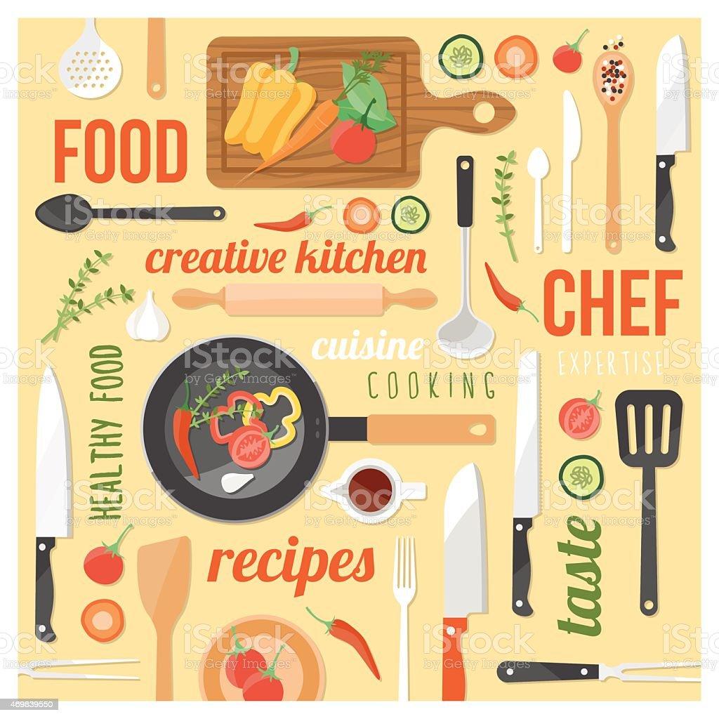 Creative kitchen concepts vector art illustration
