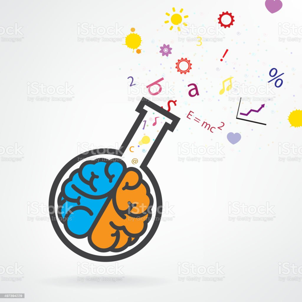 Creative left and right brain sign with the test tube vector art illustration