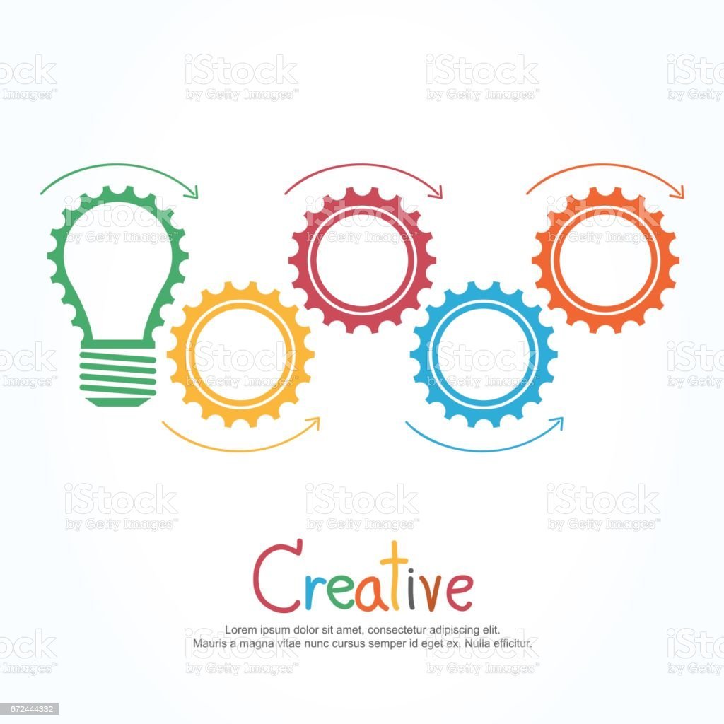 Design banner template - Creative Light Bulb And Gear Abstract Vector Design Banner Template