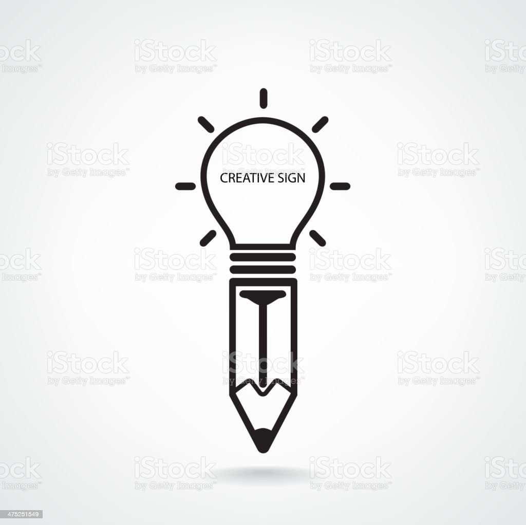Creative light bulb and pencil sign royalty-free stock vector art