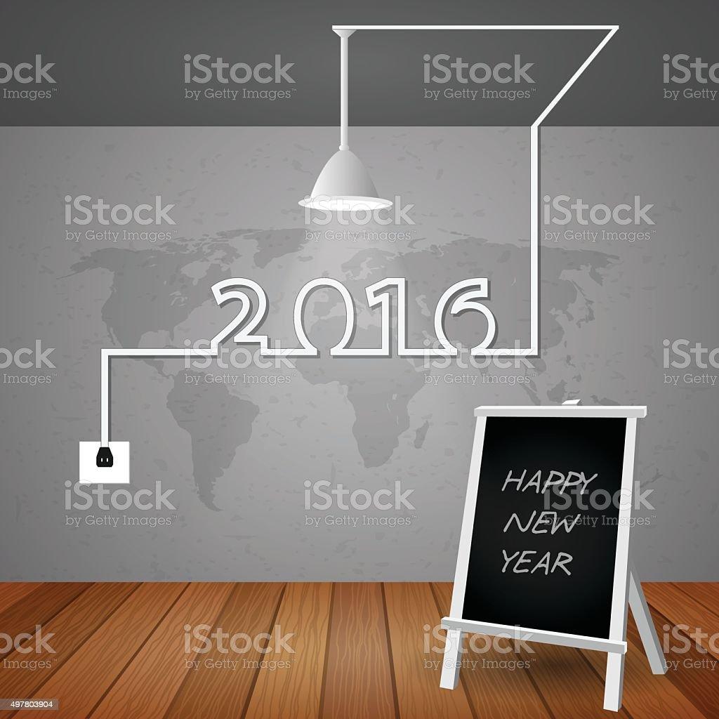 Creative light bulb greeting card 2016 New year. vector eps10 vector art illustration