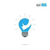Creative light bulb icon design vector template with small hand.