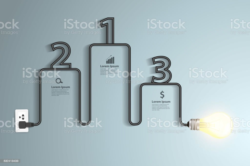Creative light bulb idea abstract infographic vector art illustration