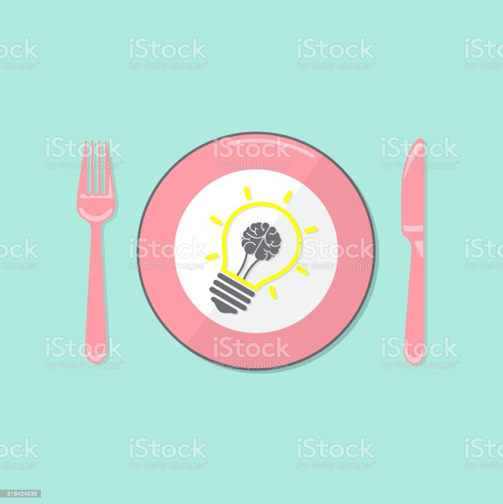 Creative light bulb idea and brain concept background vector art illustration