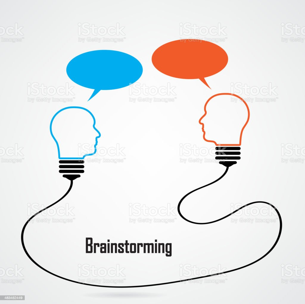 Creative light bulb Idea and brainstorming concept royalty-free stock vector art