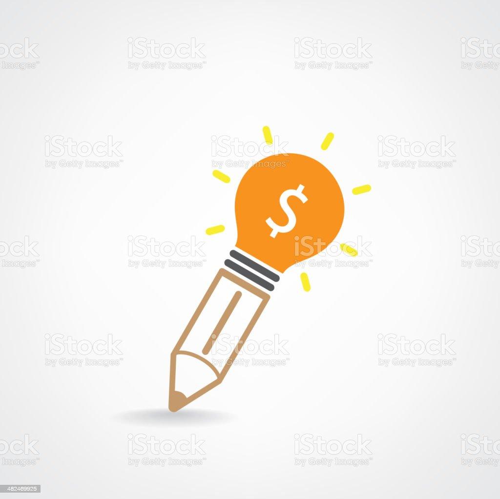 Creative light bulb Idea and pencil concept royalty-free stock vector art
