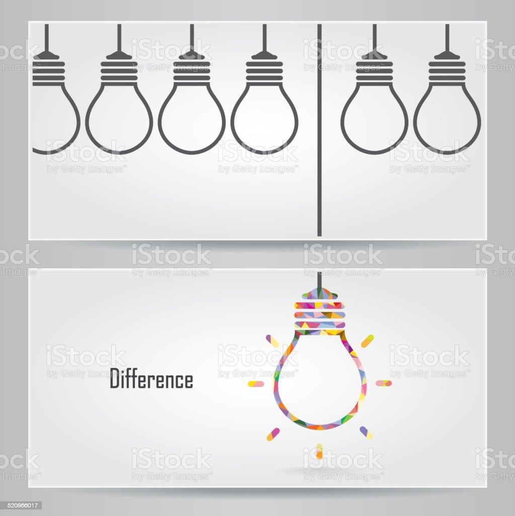 Creative light bulb Idea concept banner background. Differen banner ceconcept vector art illustration