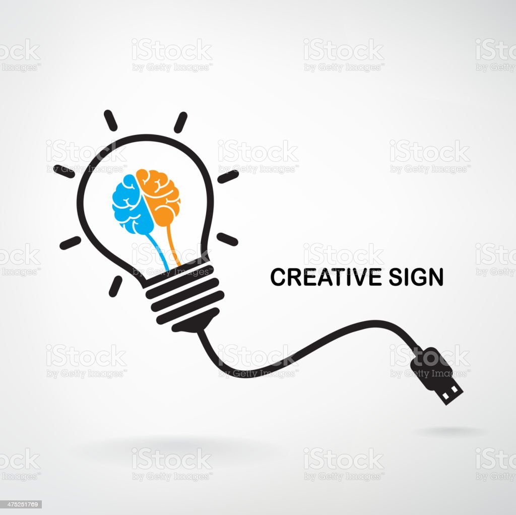 Creative light bulb sign vector art illustration