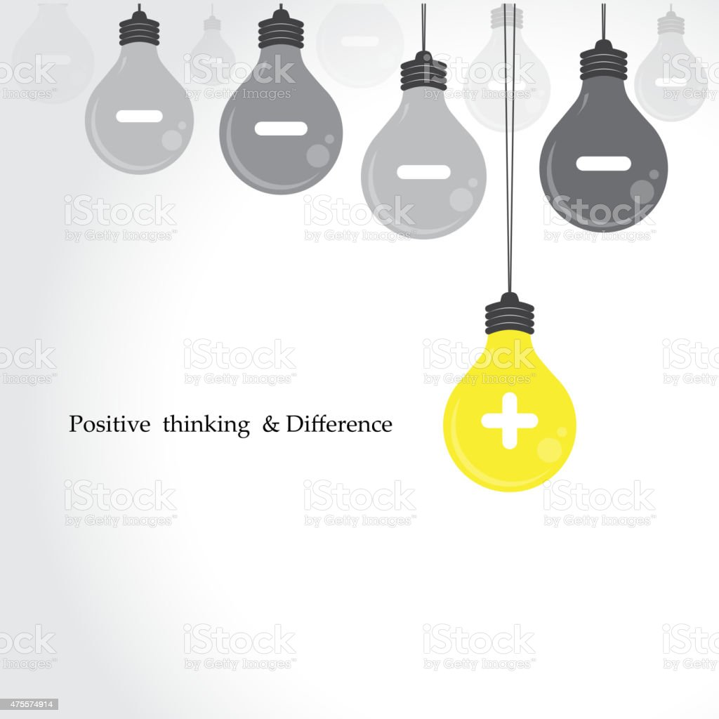 Creative light bulb symbol with positive thinking vector art illustration