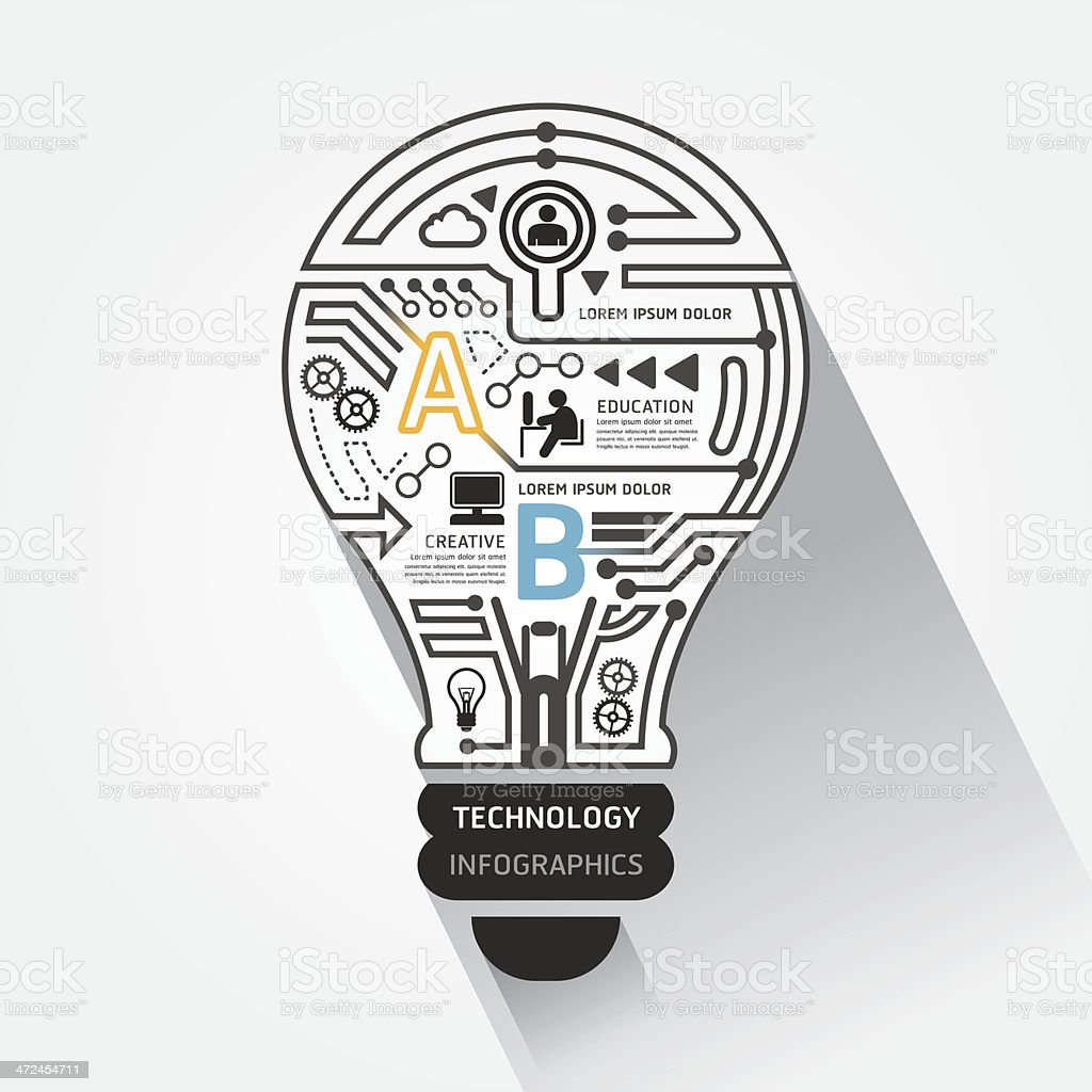Creative lightbulb abstract circuit technology infographic vector art illustration