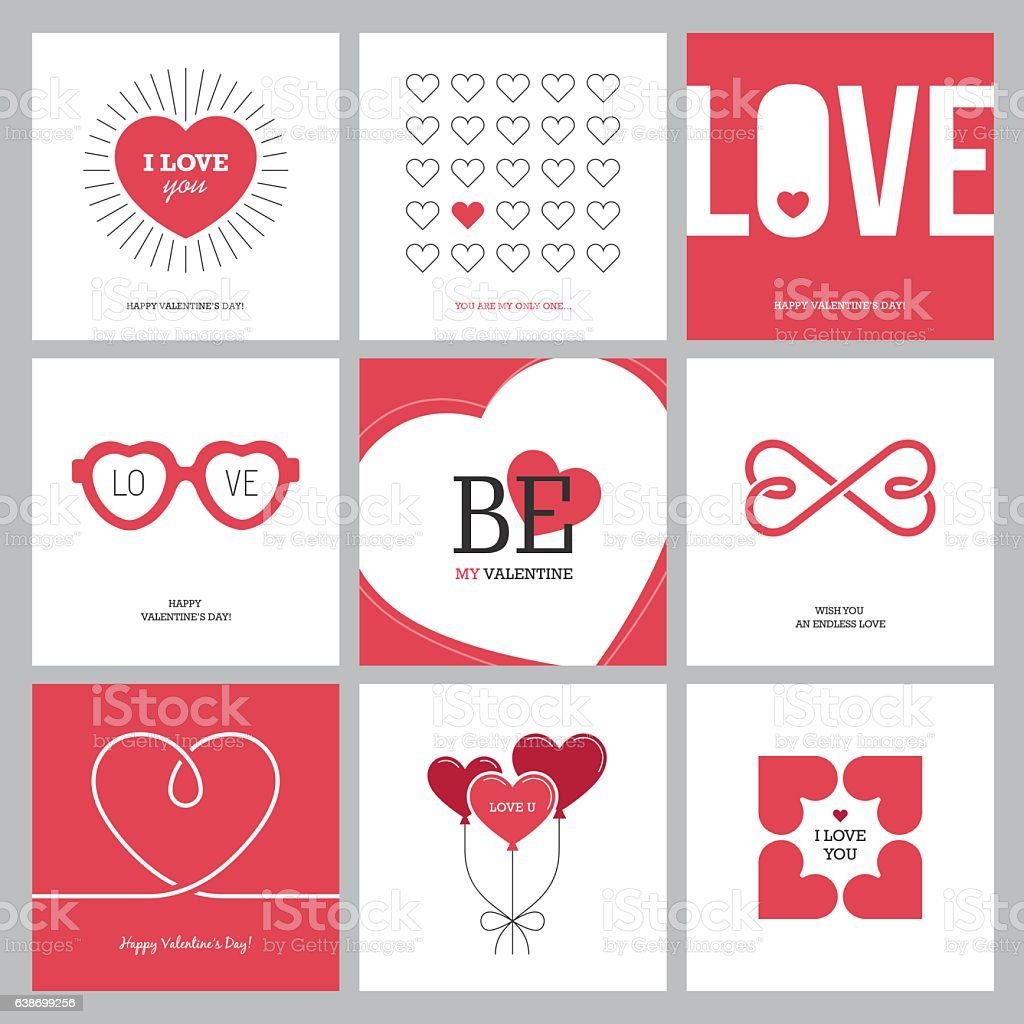 Creative love design concepts set with hearts vector art illustration