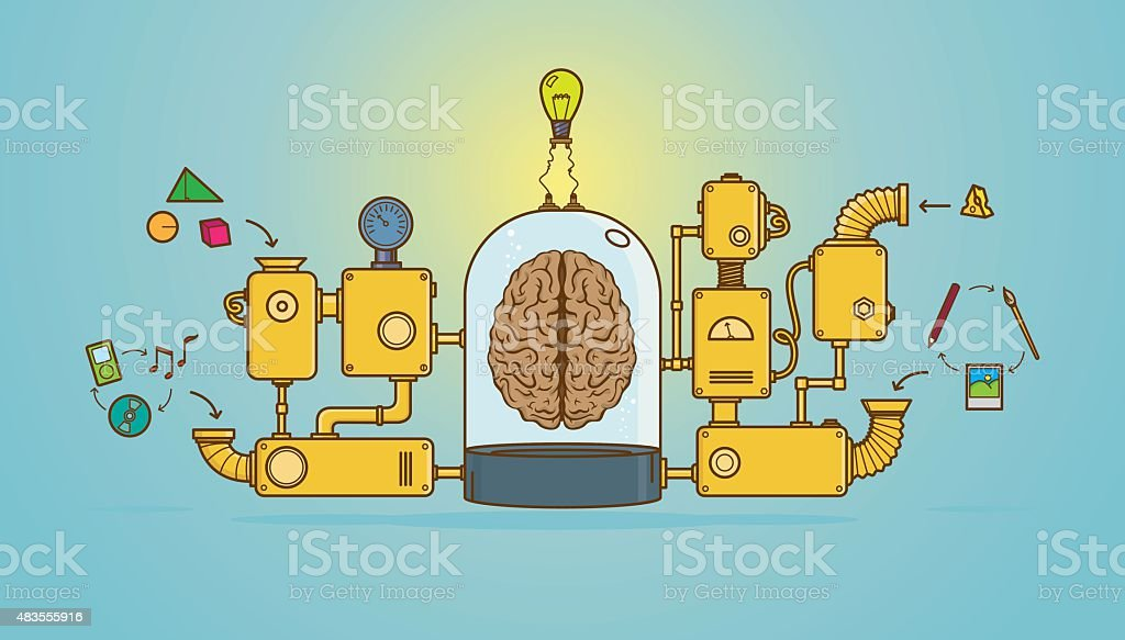 Creative machine for a bright idea vector art illustration